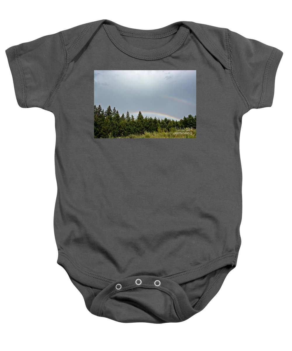 Baby Onesie featuring the photograph Double Rainbow by Cheryl Baxter