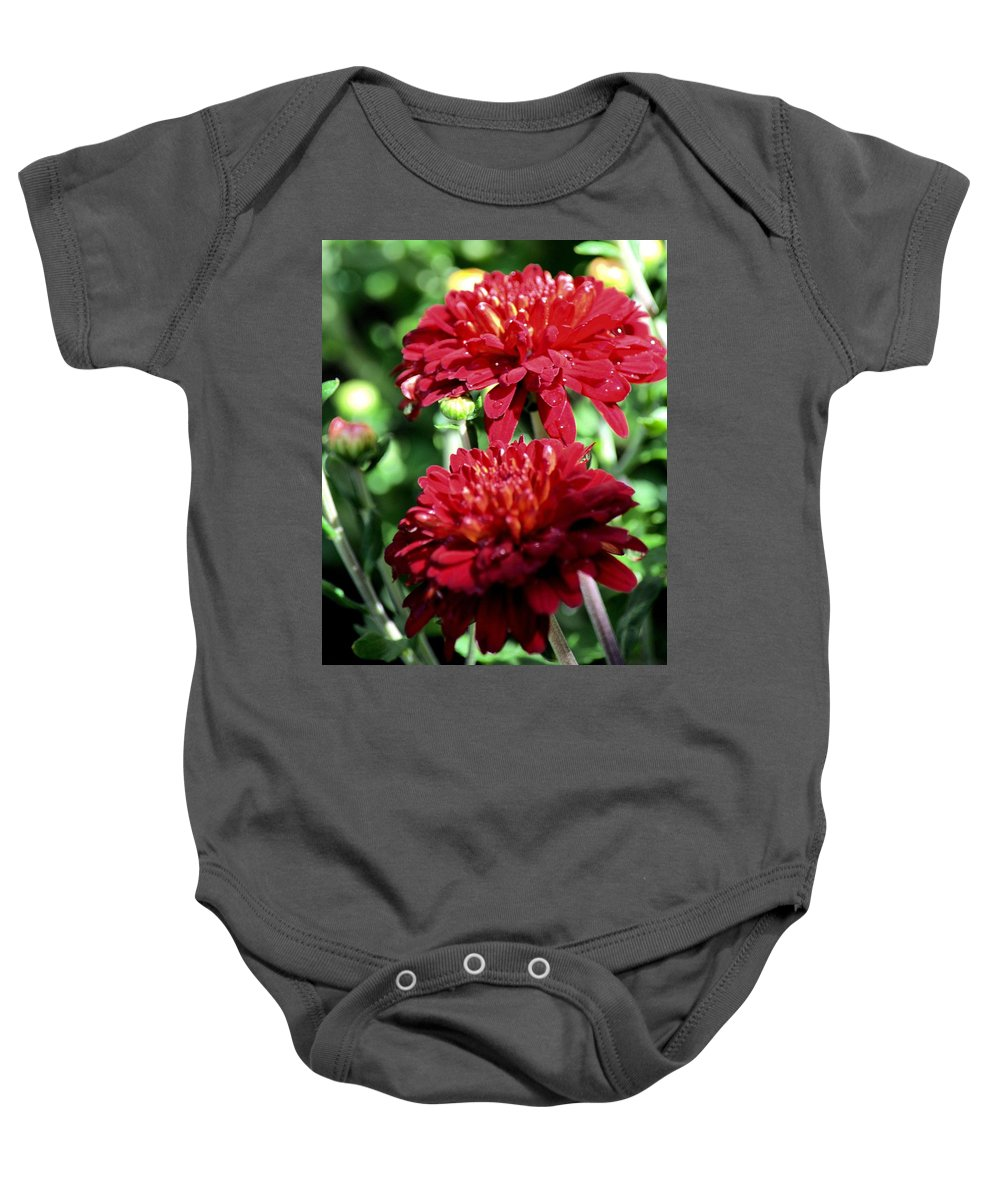 Doubled Red Mums Baby Onesie featuring the photograph Doubled Red Mums by Maria Urso