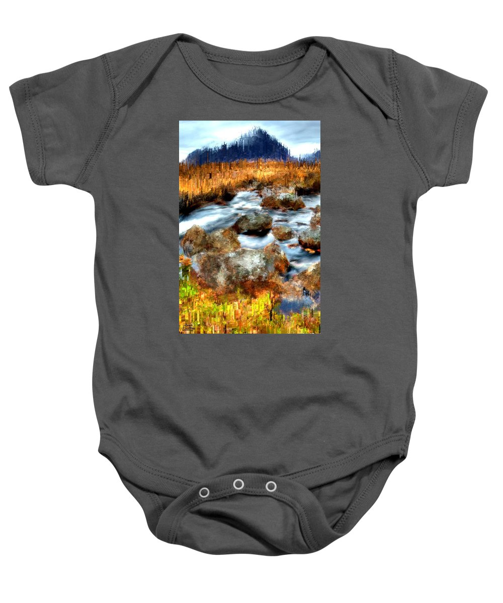 Mountain Baby Onesie featuring the painting Down By The Brook by Bruce Nutting