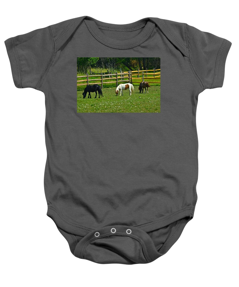 Horses Baby Onesie featuring the photograph Down On The Ranch by Frozen in Time Fine Art Photography