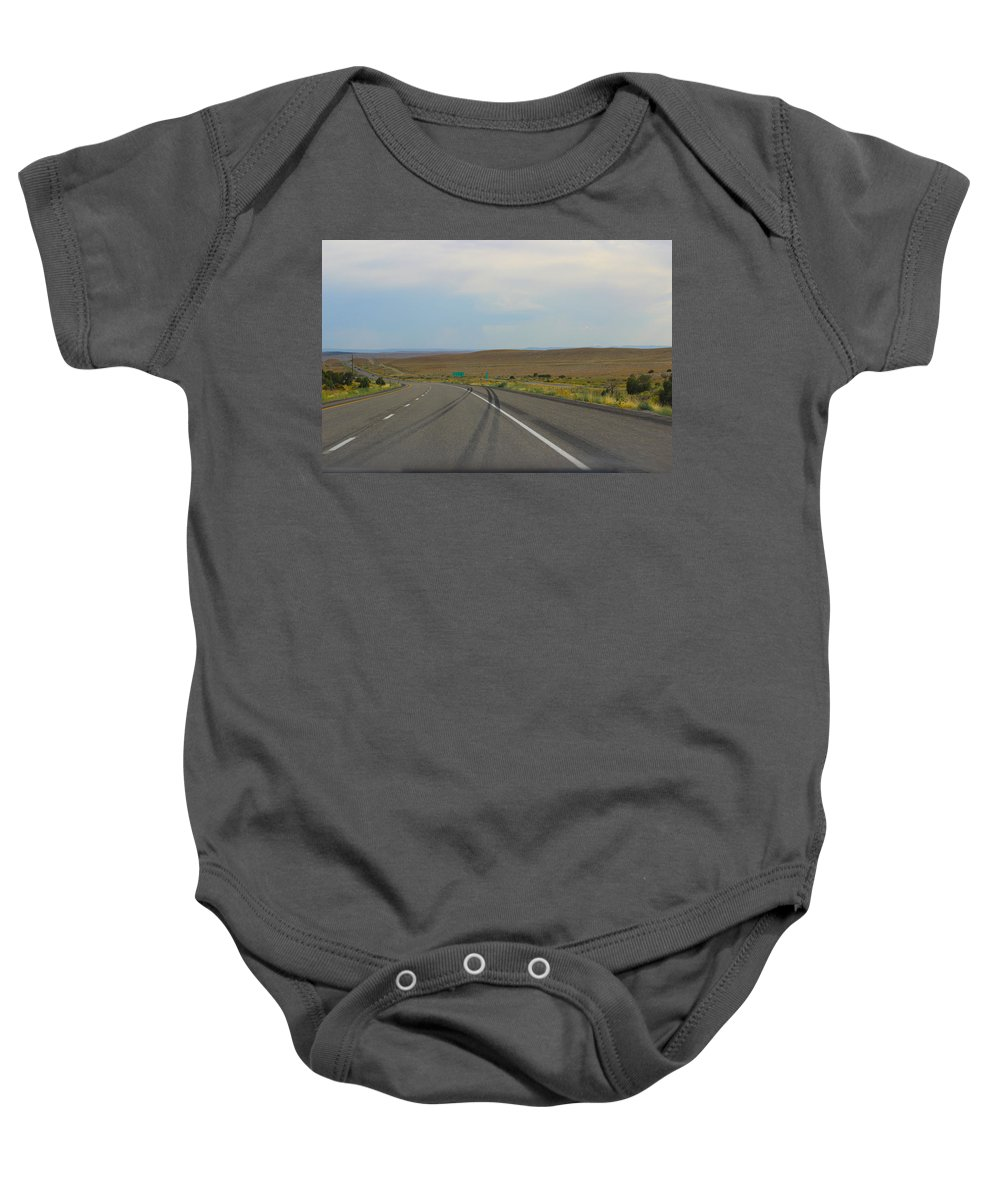 Road Baby Onesie featuring the photograph Down The Road by Becca Buecher