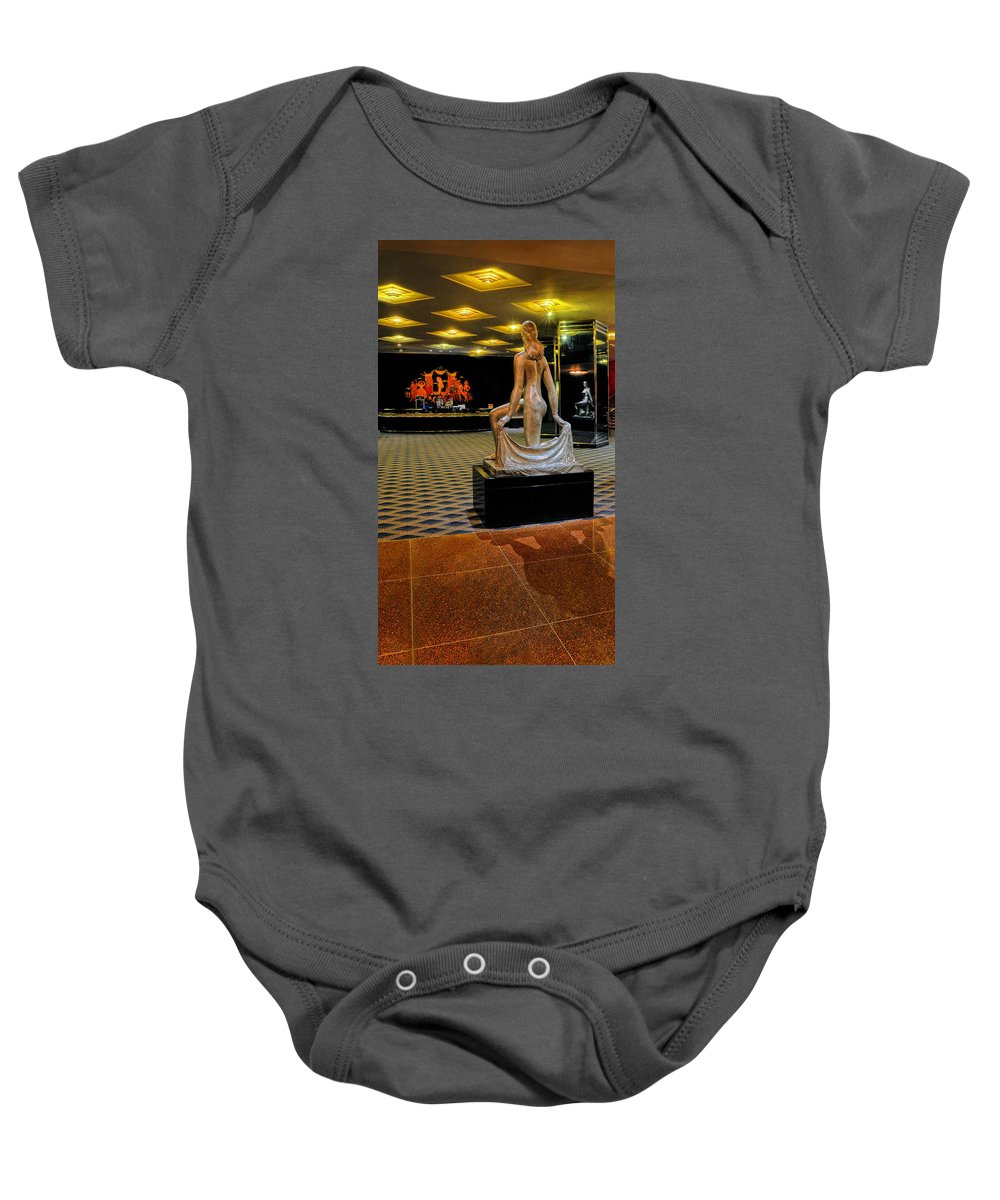 Radio City Music Hall Baby Onesie featuring the photograph Downstairs Lobby Radio City Music Hall by Dave Mills