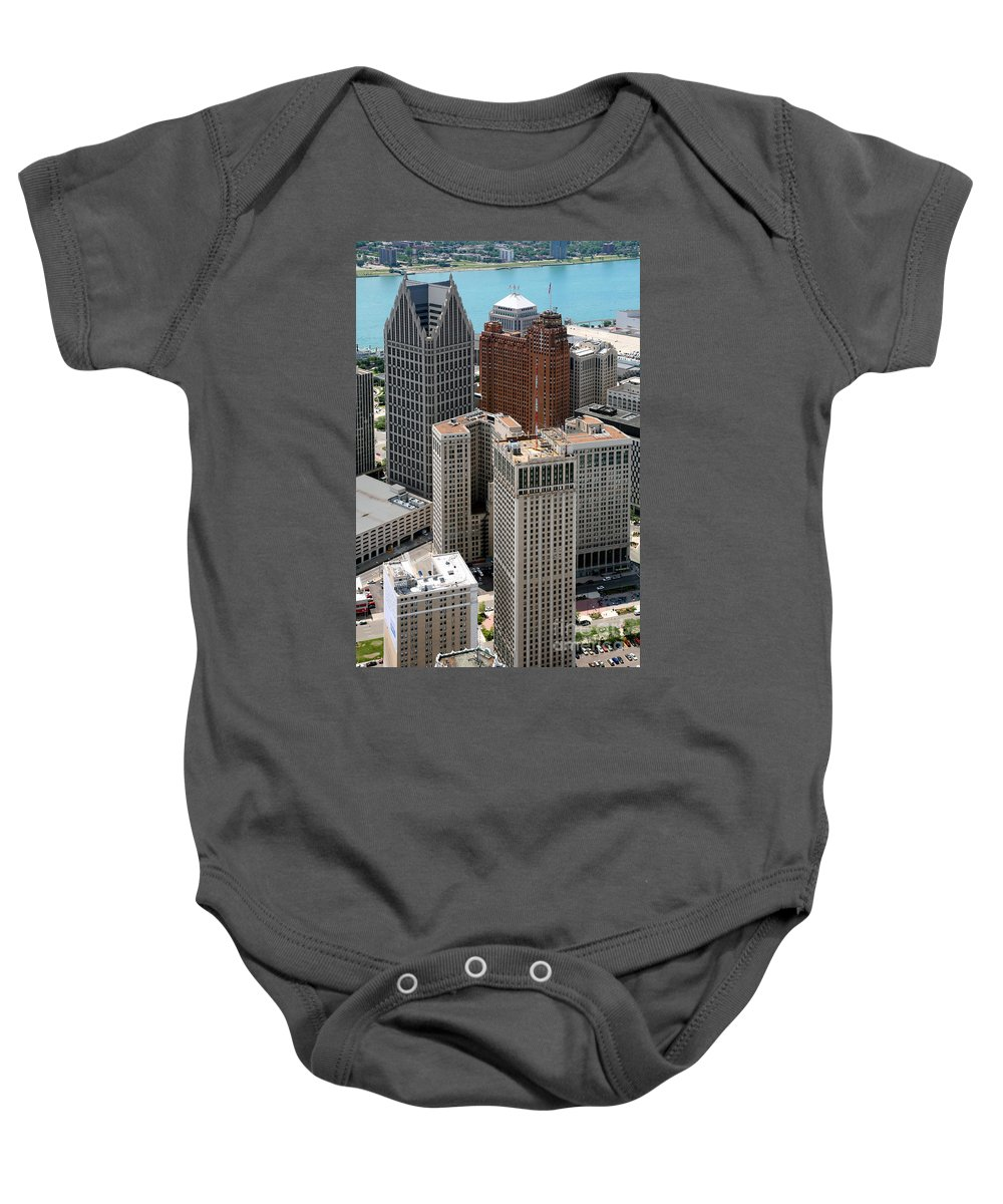 One Detroit Center Baby Onesie featuring the photograph Downtown Aerial Of Detroit Michigan by Bill Cobb