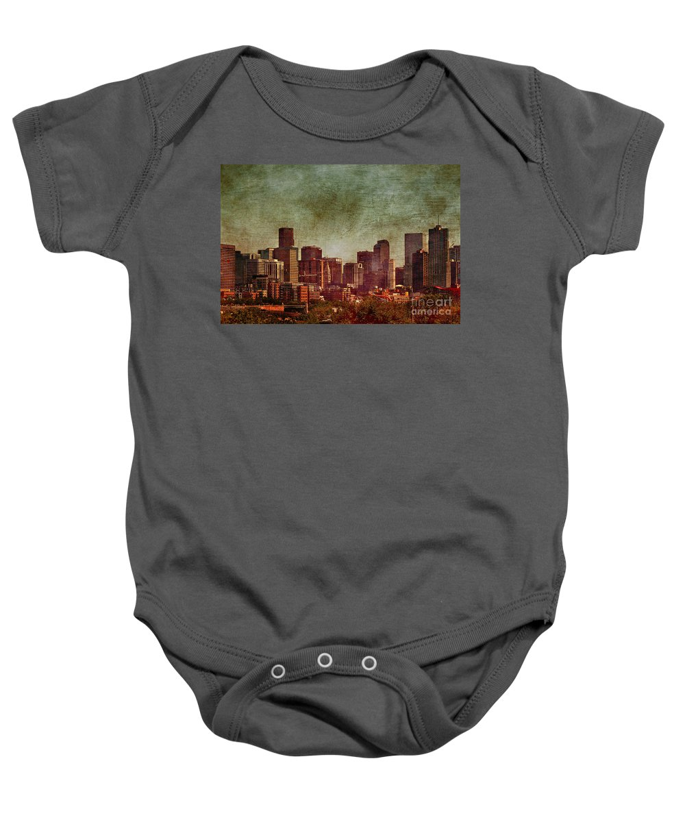 Night Baby Onesie featuring the photograph Downtown Denver Antiqued Postcard by Janice Pariza