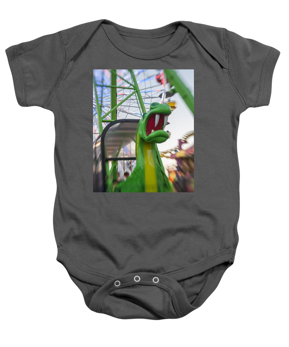 Metal Print Baby Onesie featuring the photograph Roar Too The Green Dragon Ride by Scott Campbell