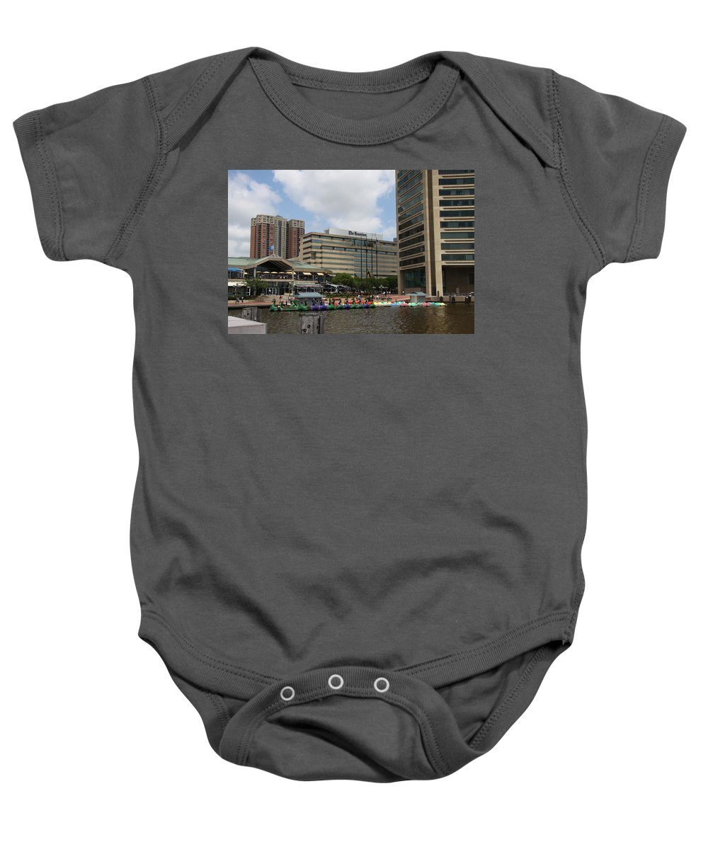 Boats Baby Onesie featuring the photograph Dragonboats - Inner Harbor Baltimore by Christiane Schulze Art And Photography