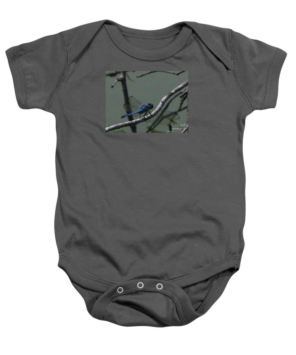 Art For The Wall...patzer Photography Baby Onesie featuring the photograph Dragonfly by Greg Patzer