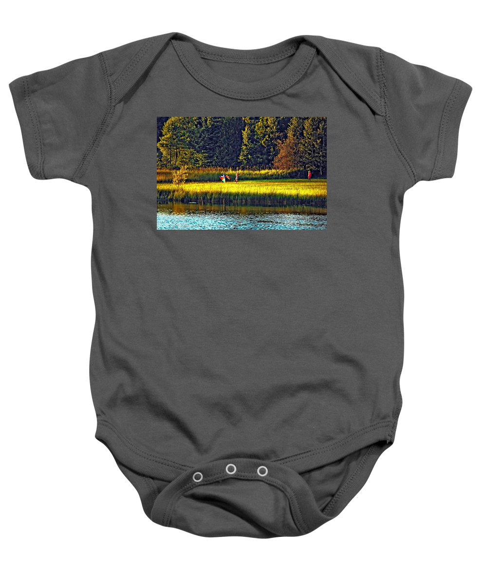Kids Baby Onesie featuring the photograph Dreams Can Fly by Steve Harrington