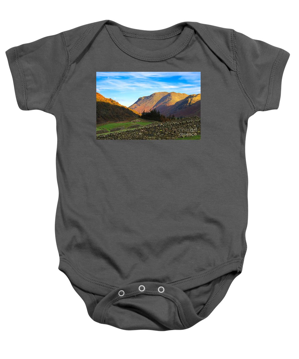 Dry Baby Onesie featuring the photograph Dry Stone Walls In Patterdale In The Lake District by Louise Heusinkveld