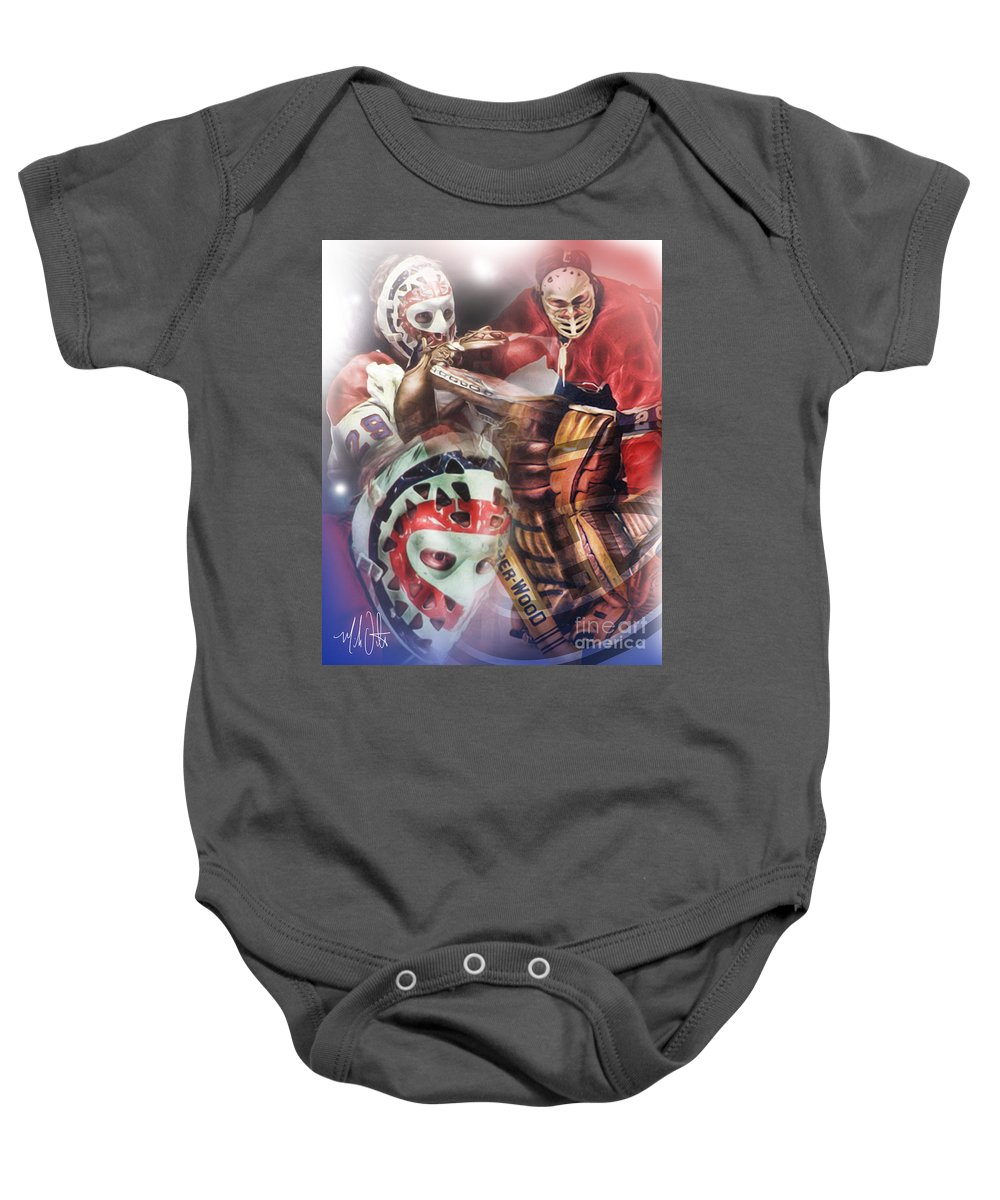 Ken Dryden Baby Onesie featuring the painting Dryden by Mike Oulton