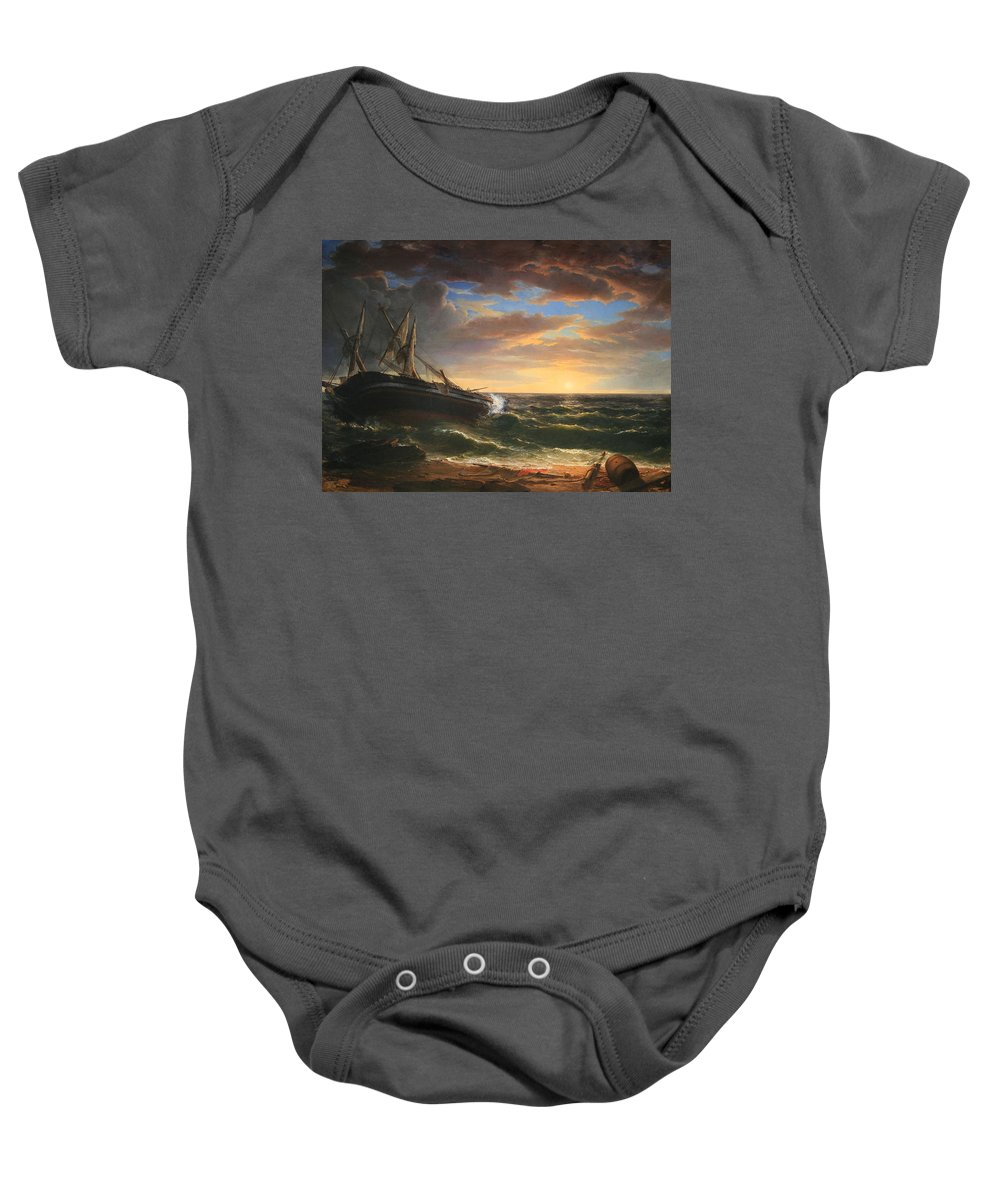 The Baby Onesie featuring the photograph Durand's The Stranded Ship by Cora Wandel