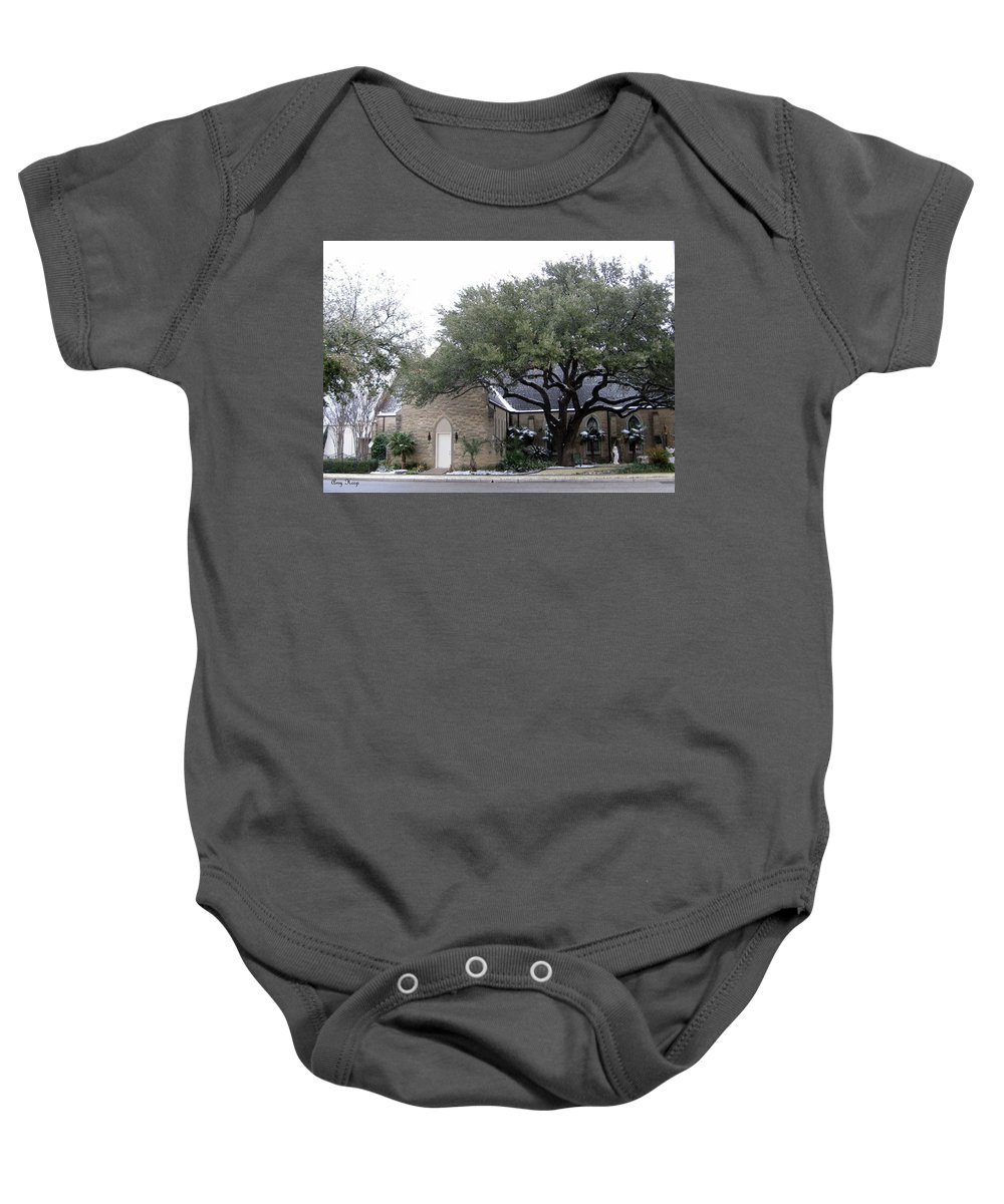 Church Baby Onesie featuring the photograph Dusting Of Snow At Church On Pennsylvania St Fort Worth Tx by Amy Hosp