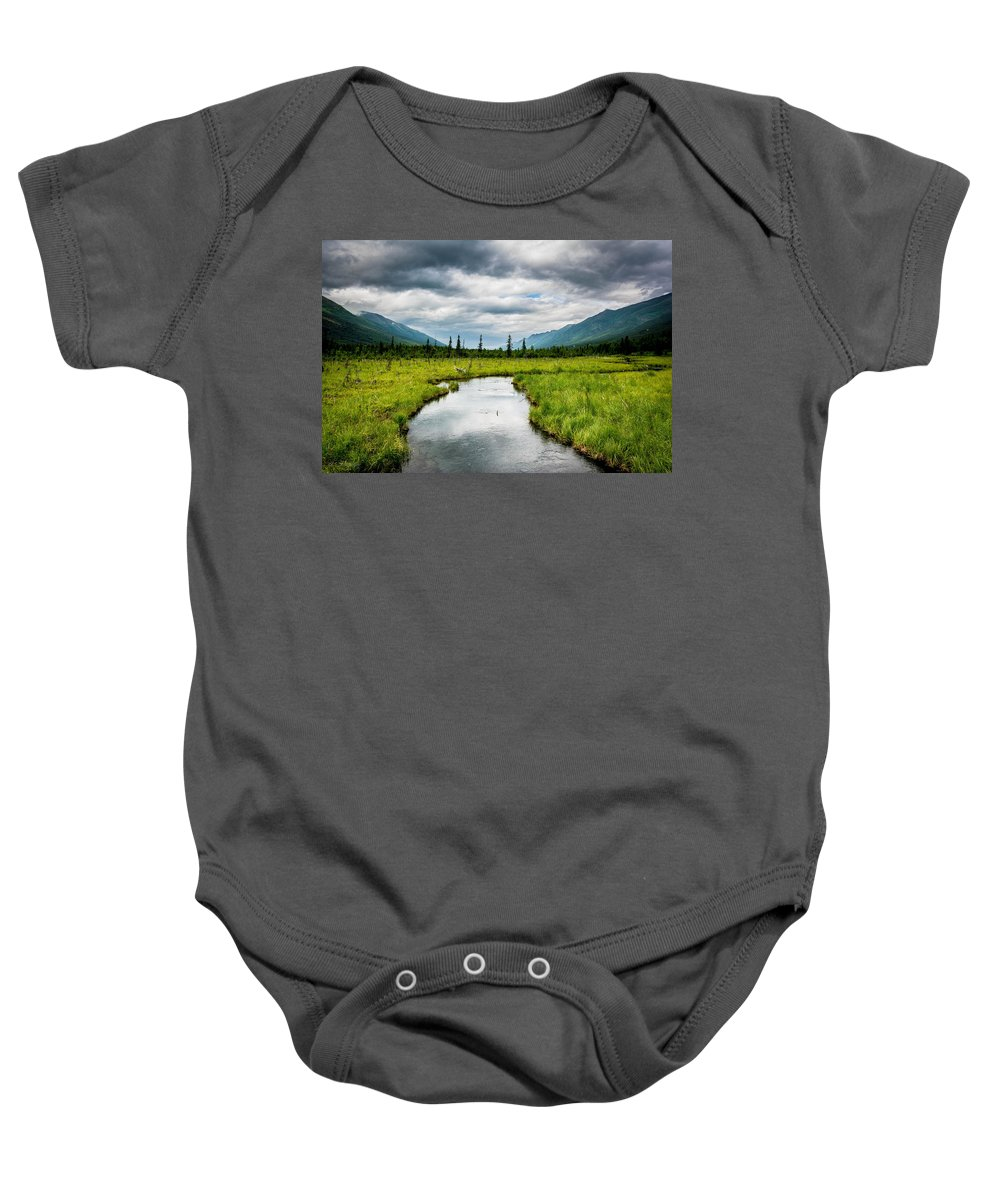 Meadow Baby Onesie featuring the photograph Eagle River Nature Center by Andrew Matwijec