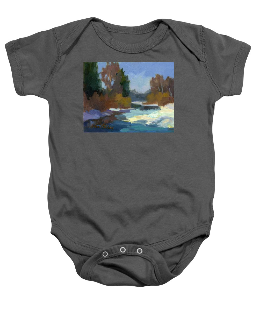 Pacific Northwest Baby Onesie featuring the painting Early Autumn Snow by Diane McClary