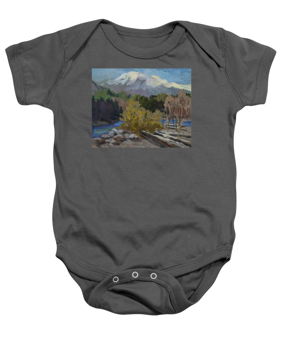 Early Snow Baby Onesie featuring the painting Early Snow Cascade Mountains by Diane McClary