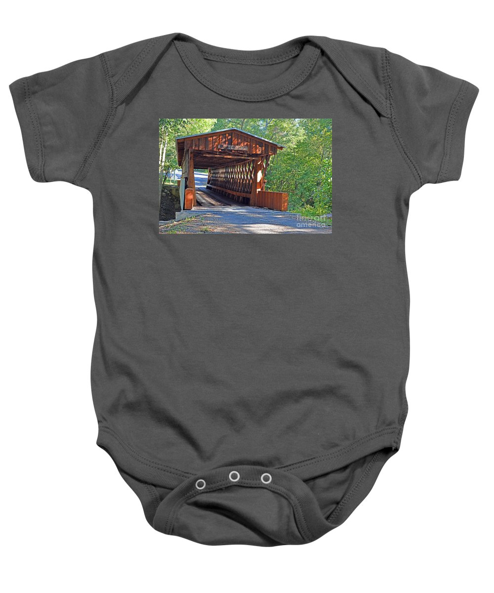 Bridges Photographs Baby Onesie featuring the photograph Easley Covered Bridge by Barb Dalton