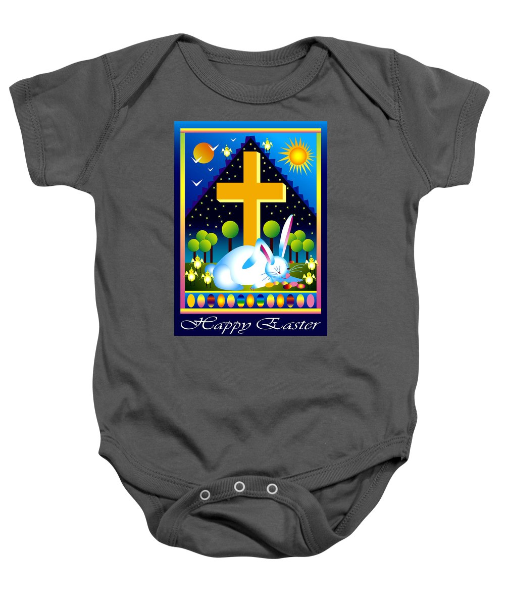 Bunny Baby Onesie featuring the digital art Easter Card by Nancy Griswold