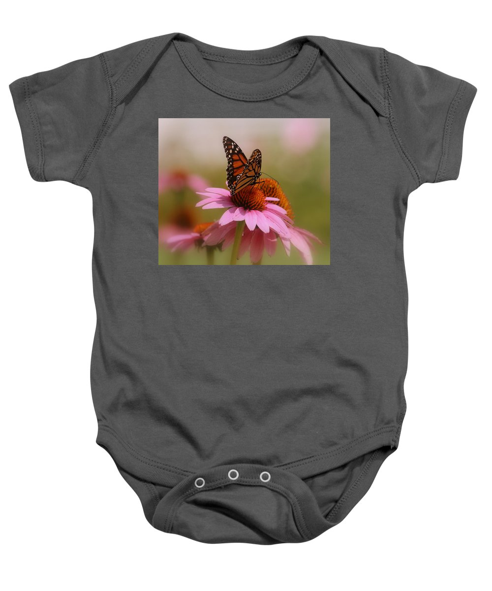 Macro Photography Baby Onesie featuring the photograph Easy Landing by Kay Novy