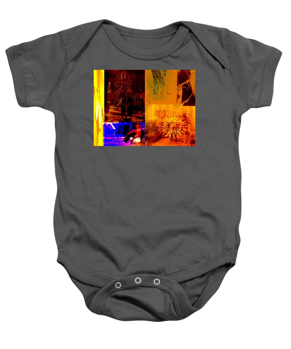 Baby Onesie featuring the digital art Eclectic Things Collage by Cathy Anderson