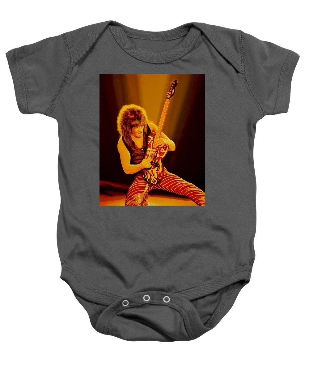 Eddie Van Halen Baby Onesie featuring the painting Eddie Van Halen Painting by Paul Meijering