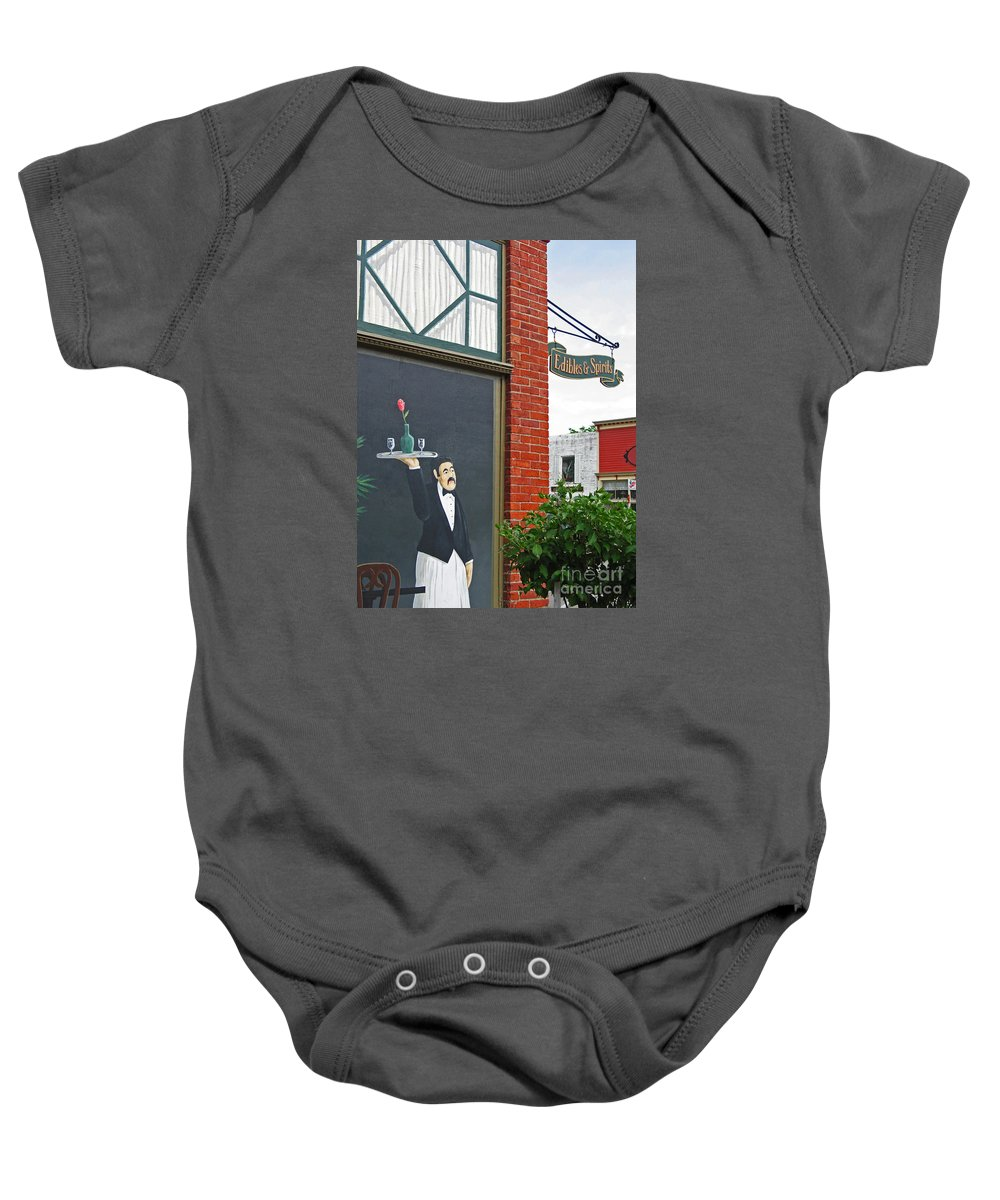 Restaurant Baby Onesie featuring the photograph Edibles And Spirits by Ann Horn