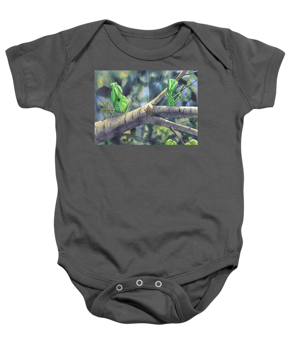 Mantis Baby Onesie featuring the painting EEK by Catherine G McElroy