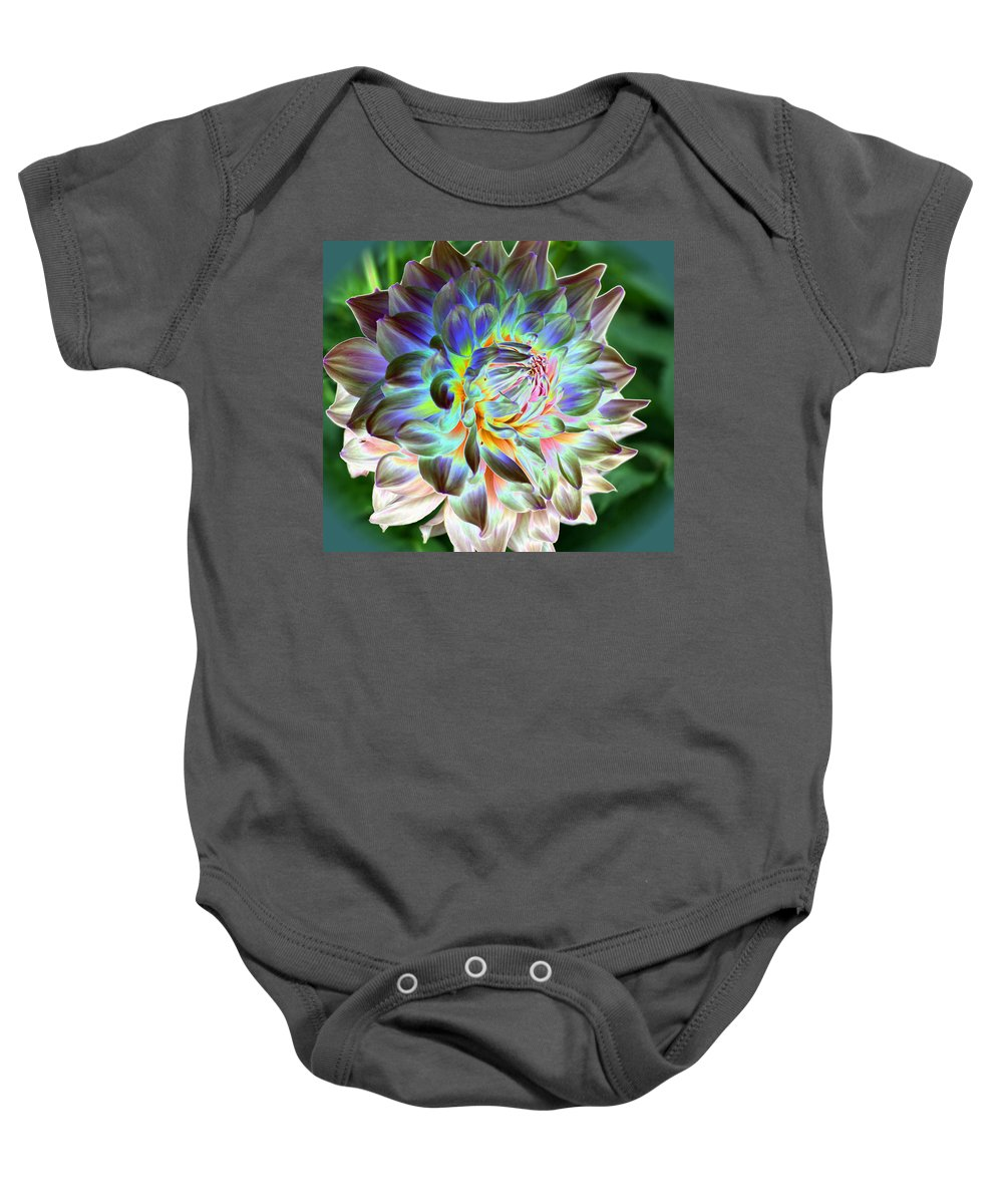 Dahlia Baby Onesie featuring the photograph Eerily Beauty by Christiane Schulze Art And Photography
