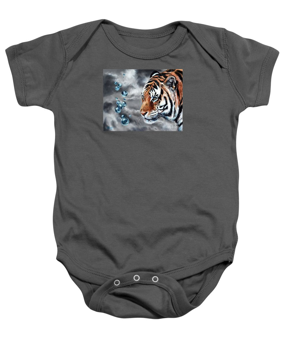 Tiger Baby Onesie featuring the painting Effervescent by Lachri