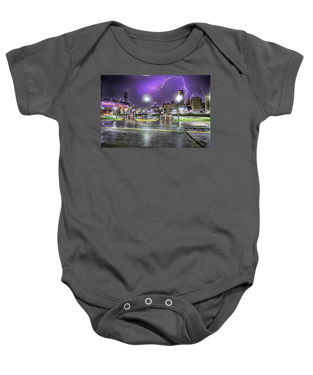 King Kong Baby Onesie featuring the photograph Electric Detroit by Nicholas Grunas