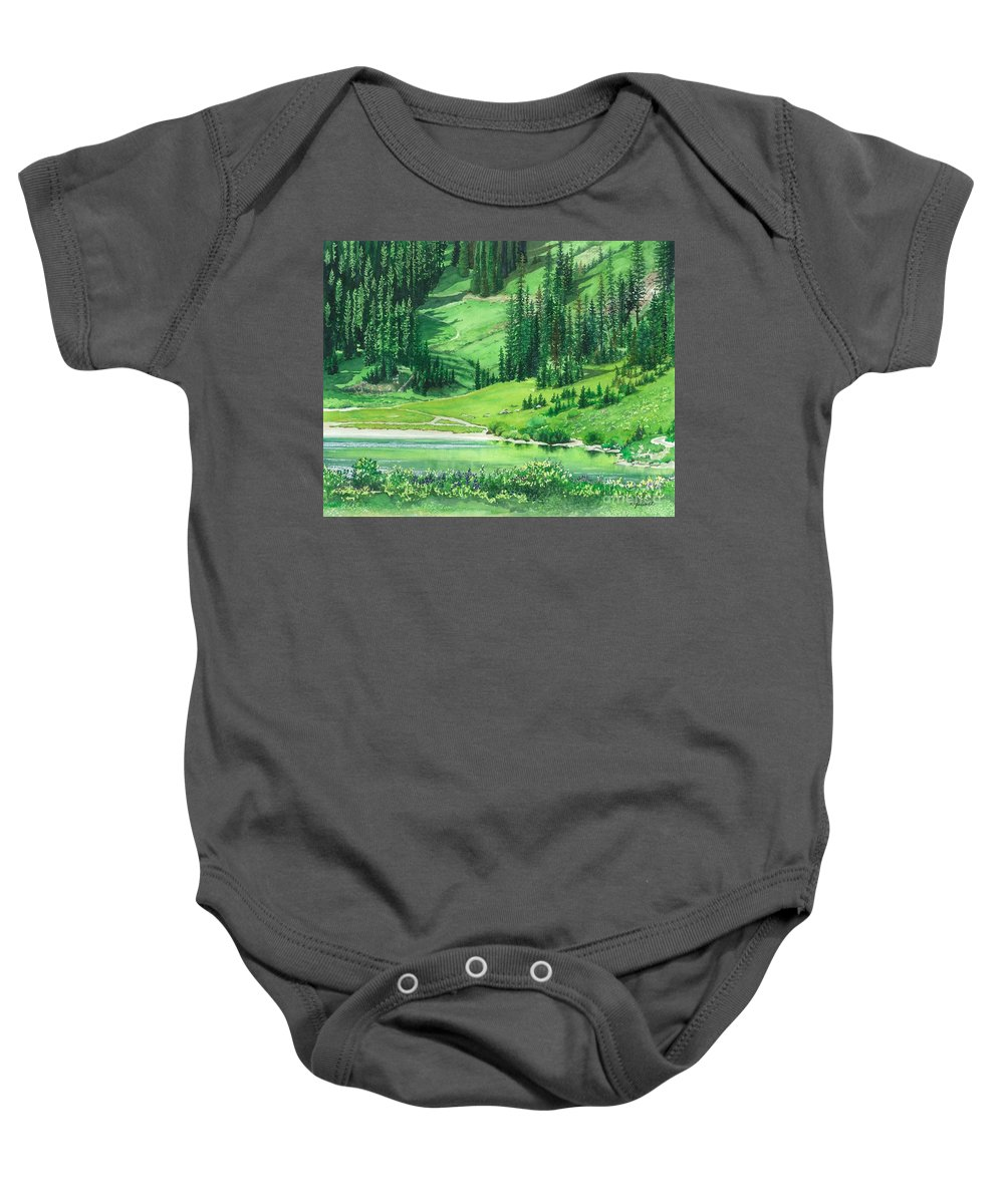 Water Color Paintings Baby Onesie featuring the painting Emerald Lake by Barbara Jewell