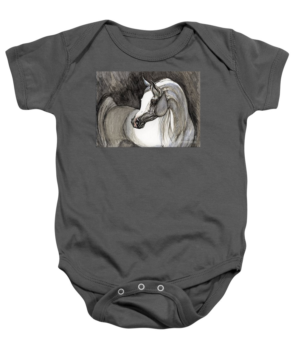 Grey Horse Baby Onesie featuring the painting Emerging From The Darkness by Angel Ciesniarska