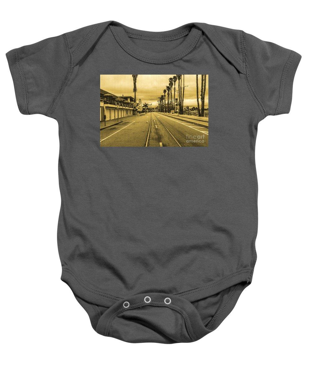 Streets Of Santa Cruz Baby Onesie featuring the photograph Beach Street by Digital Kulprits