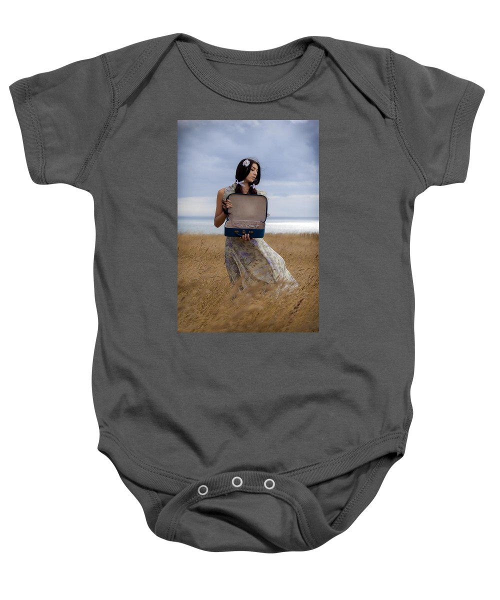 Girl Baby Onesie featuring the photograph Empty Suitcase by Joana Kruse