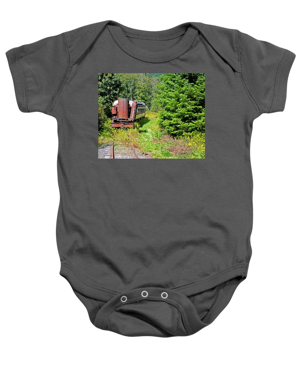 Retro Baby Onesie featuring the photograph End Of The Line by Connie Fox