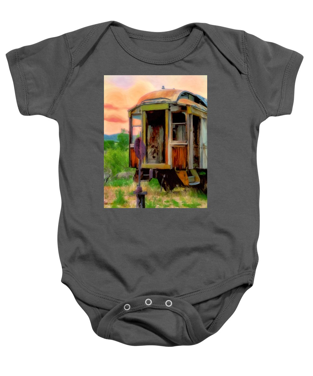 Train Baby Onesie featuring the painting End Of The Line by Michael Pickett