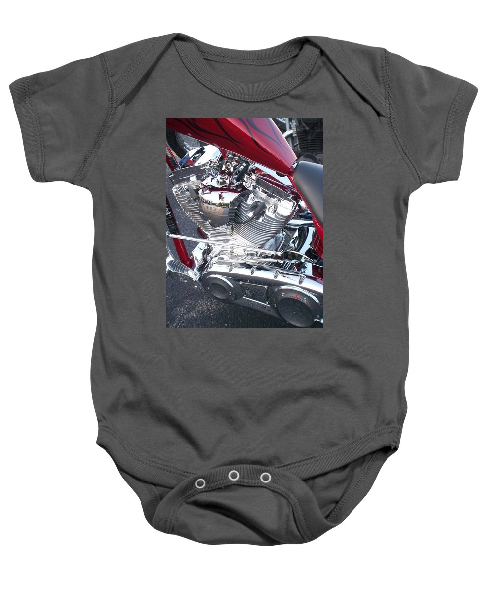 Motorcycles Baby Onesie featuring the photograph Engine Close-up 4 by Anita Burgermeister