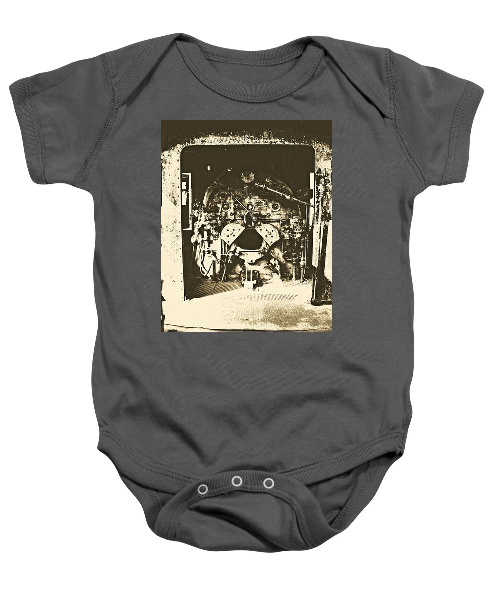 Train Baby Onesie featuring the photograph Engine Iron by Kyle Llewellyn