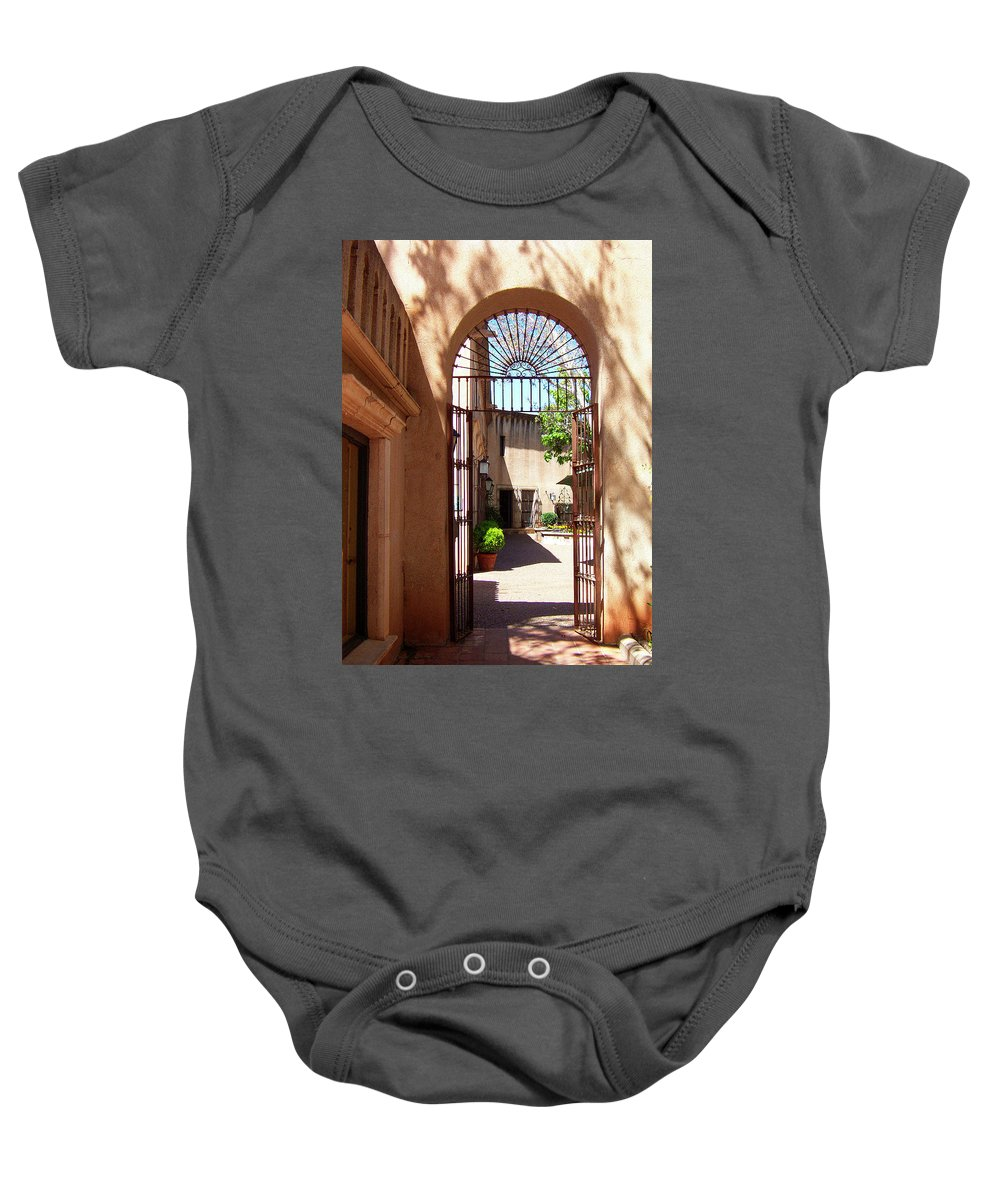 Tlaquepaque Baby Onesie featuring the photograph Entrances by Ben and Raisa Gertsberg