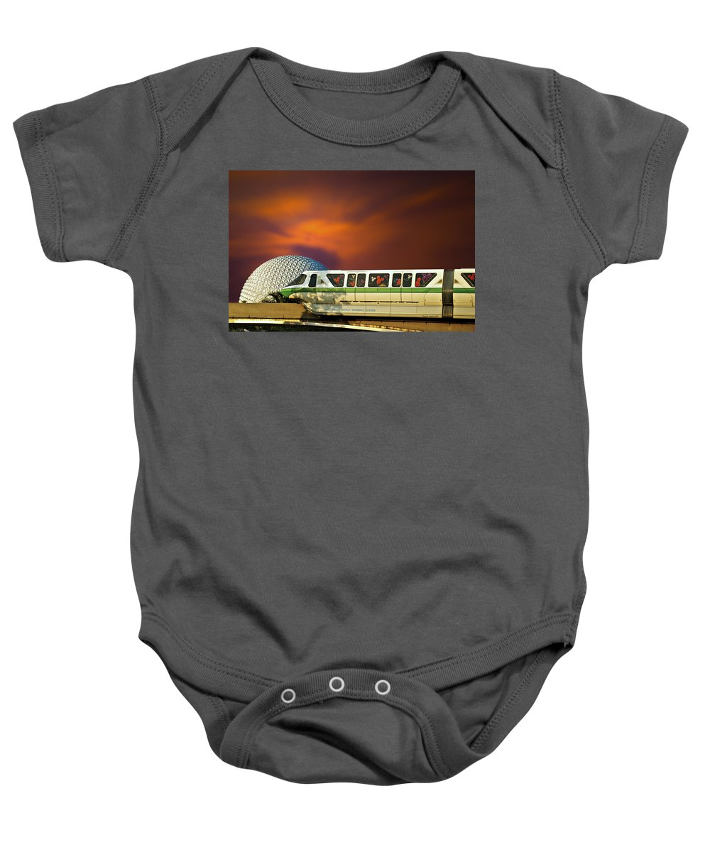 Monorail Baby Onesie featuring the photograph Epcot Riding The Rail by Thomas Woolworth