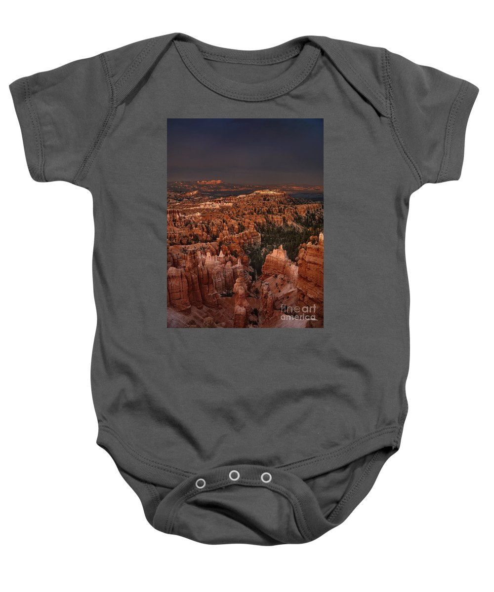 Dave Welling Baby Onesie featuring the photograph Evening Storm Sunset Point Bryce Canyon National Park by Dave Welling