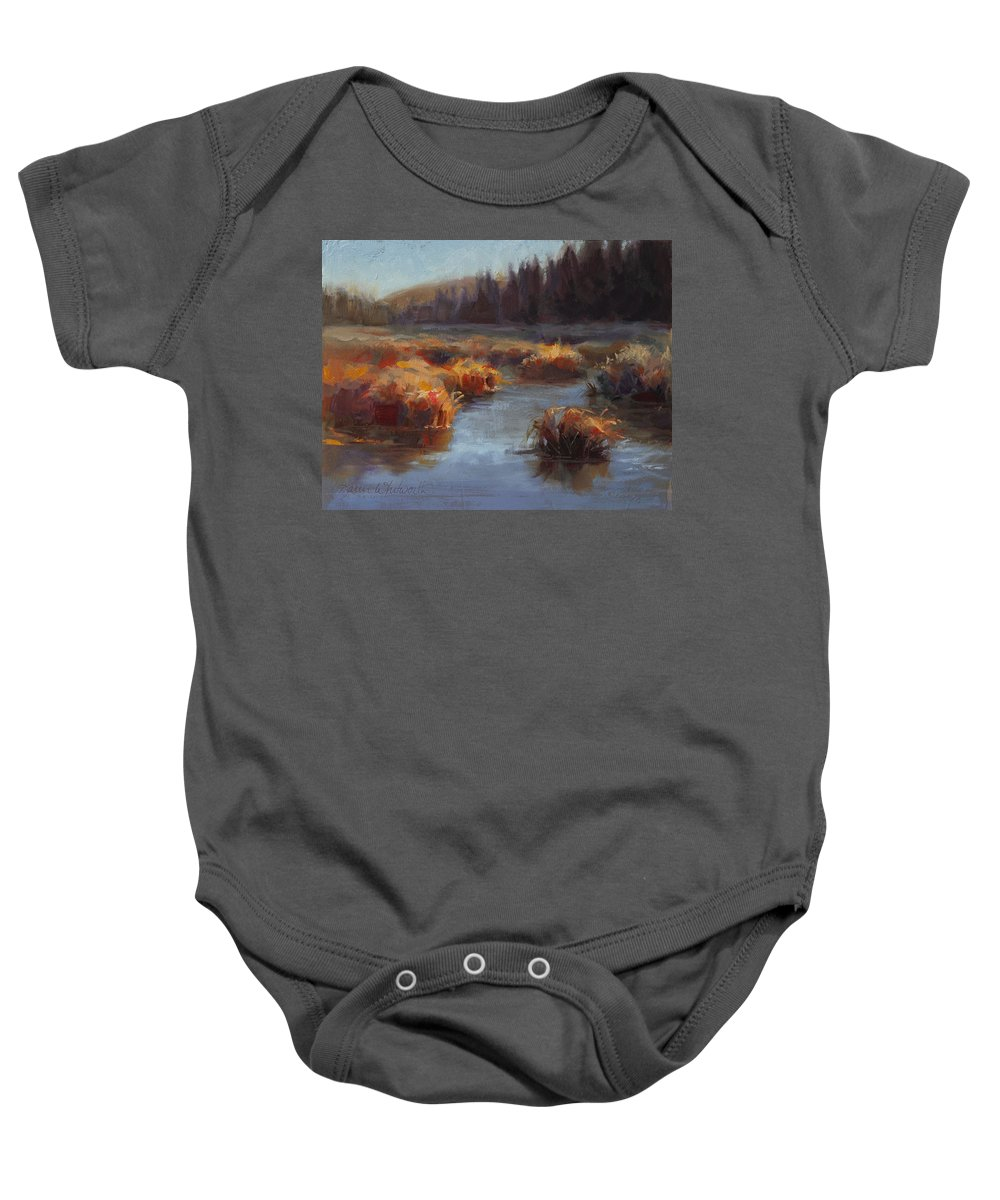 Grass Baby Onesie featuring the painting Ever Flowing Alaskan Creek In Autumn by Karen Whitworth