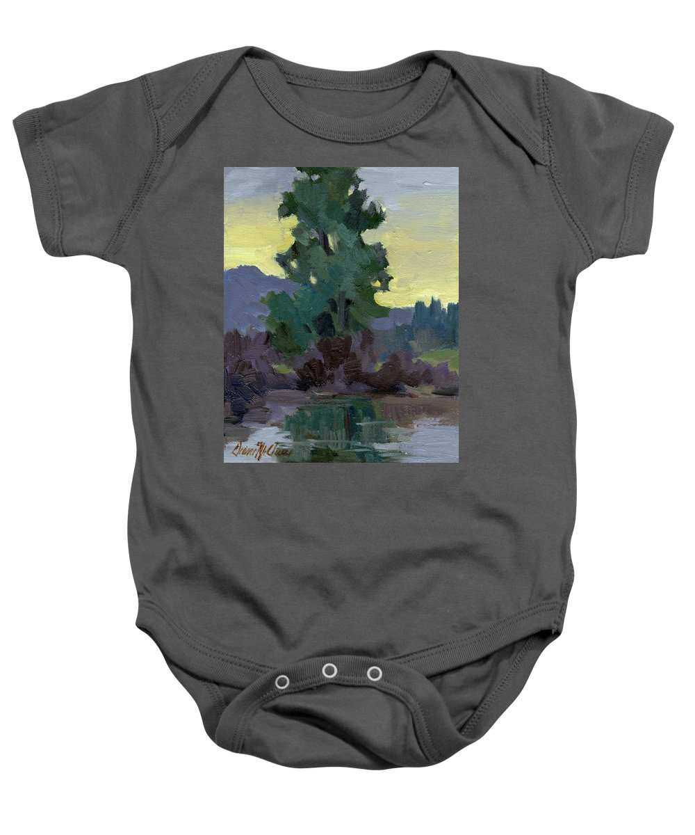 Pacific Northwest Baby Onesie featuring the painting Evergreen Reflections by Diane McClary