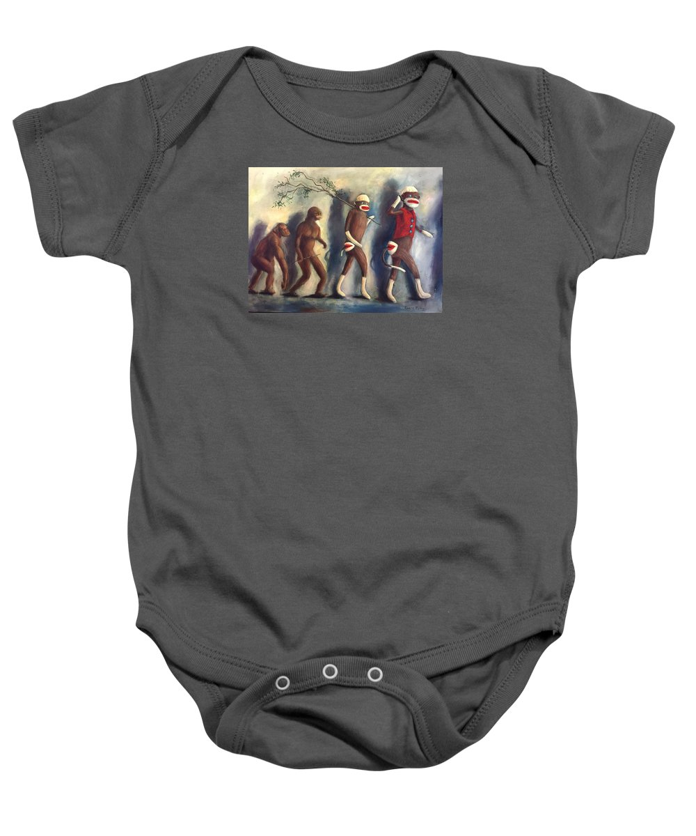 Evolution Baby Onesie featuring the painting Evolution by Randy Burns