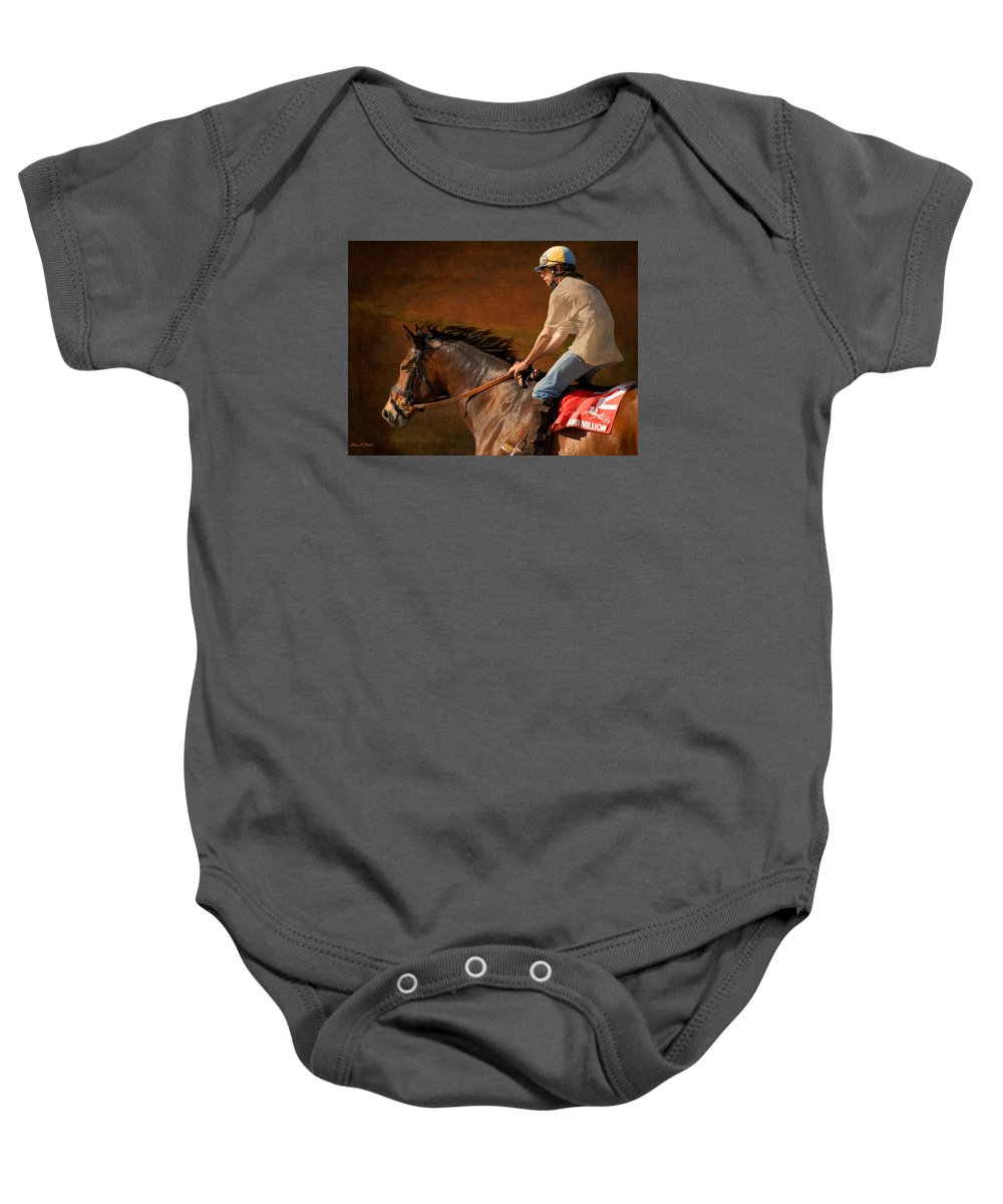 Race Baby Onesie featuring the photograph Exercising Morty by Fran J Scott