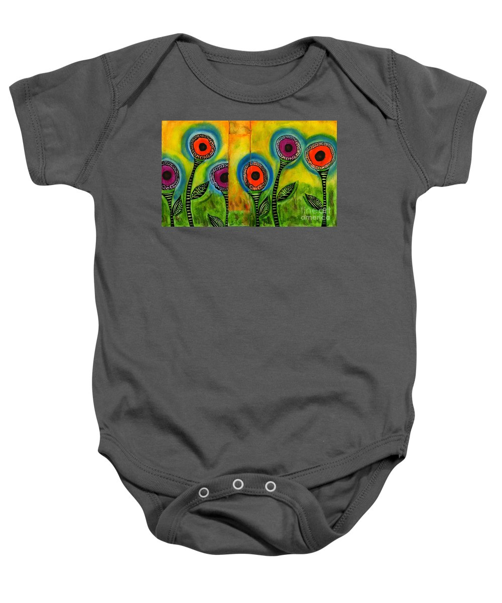 Abstract Baby Onesie featuring the painting Exotic Halos - Wip by Angela L Walker