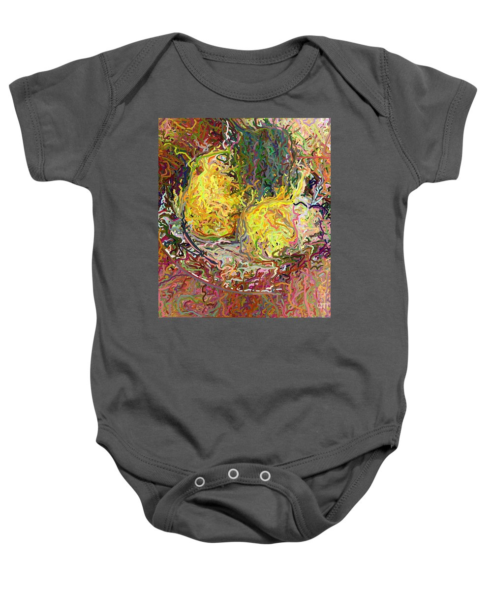 Epressionist Baby Onesie featuring the digital art Expressionist 2 Messy Pears by Frank Crescenti