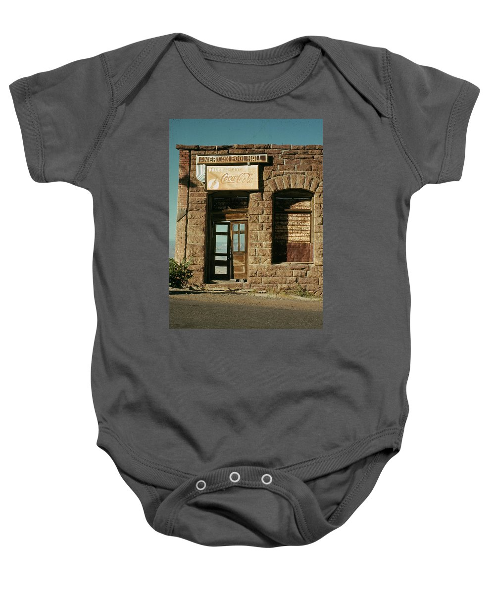 Facade American Pool Hall Coca-cola Sign Ghost Town Jerome Arizona Baby Onesie featuring the photograph Facade American Pool Hall Coca-cola Sign Ghost Town Jerome Arizona by David Lee Guss