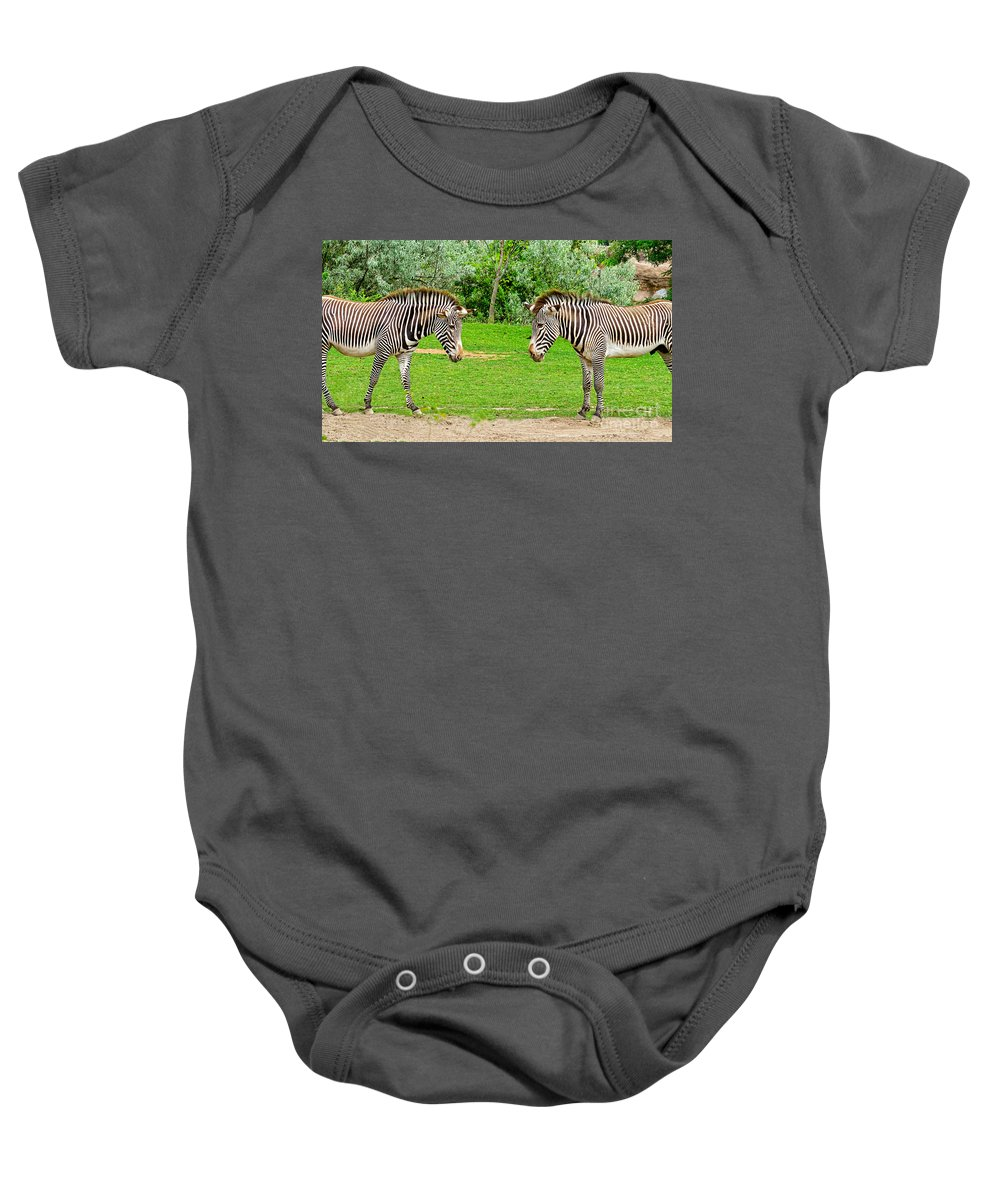 Two Baby Onesie featuring the photograph Face Off by Les Palenik
