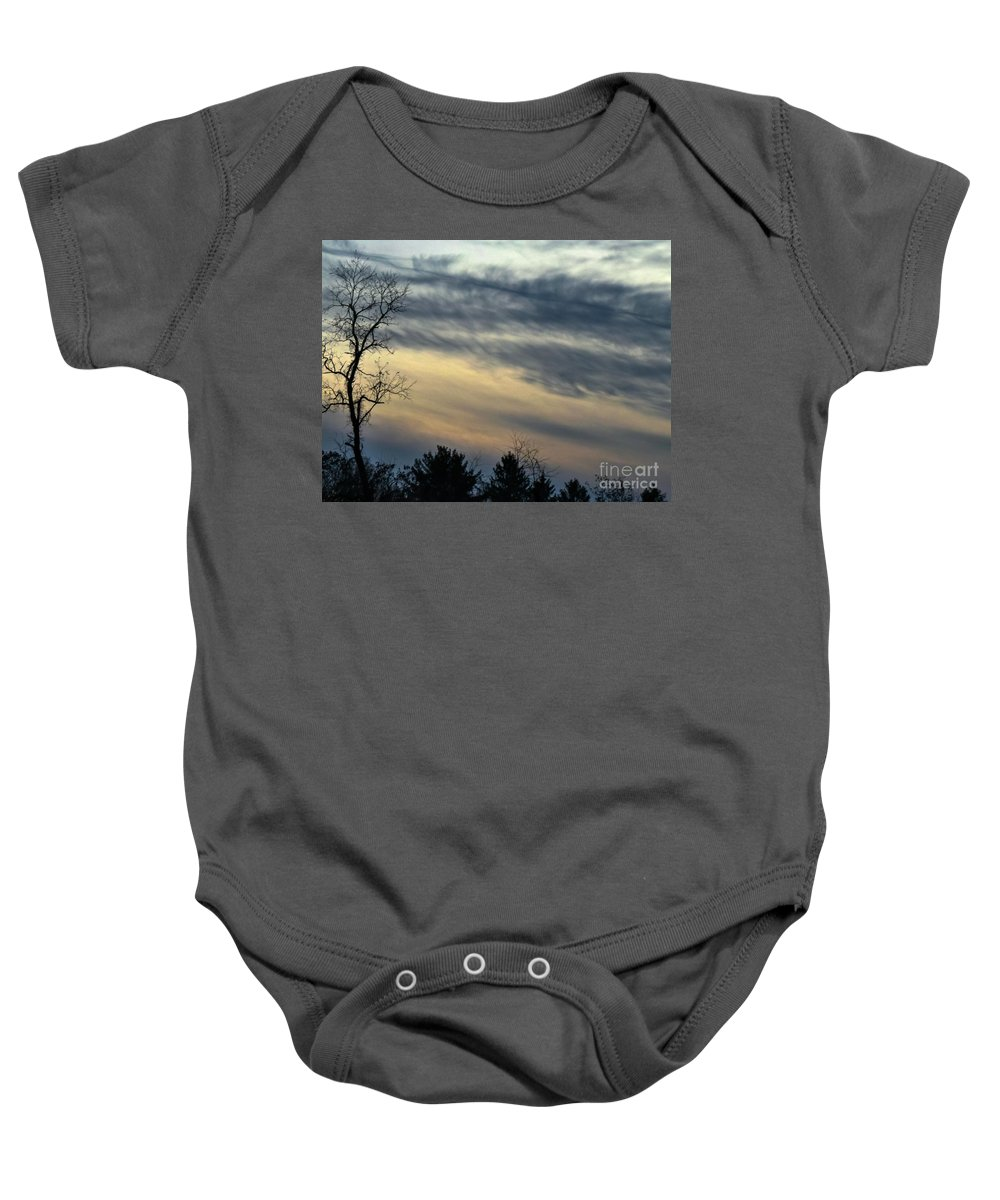 Winter Baby Onesie featuring the photograph Fade To Black by Charlie Cliques