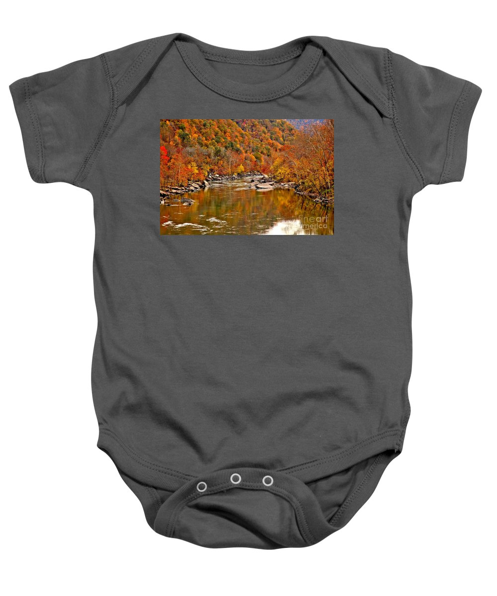New River Gorge Baby Onesie featuring the photograph Fall Brilliance At New River by Adam Jewell